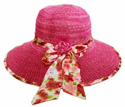 SYNC WITH STYLE Womens Ladies Floppy Foldable Summer Wedding Church Race Derby Sun Beach Straw Cap UPF 50 Foldable Wide Brim Formal Casual Adjustable Floral Pink Hat