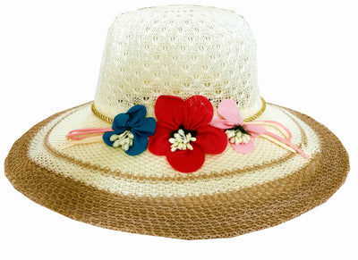 SYNC WITH STYLE Womens Ladies Floppy Foldable Summer Wedding Church Race Derby Sun Beach Straw Cap UPF 50 Foldable Wide Brim Formal Casual Adjustable Floral Off White & Brown Hat