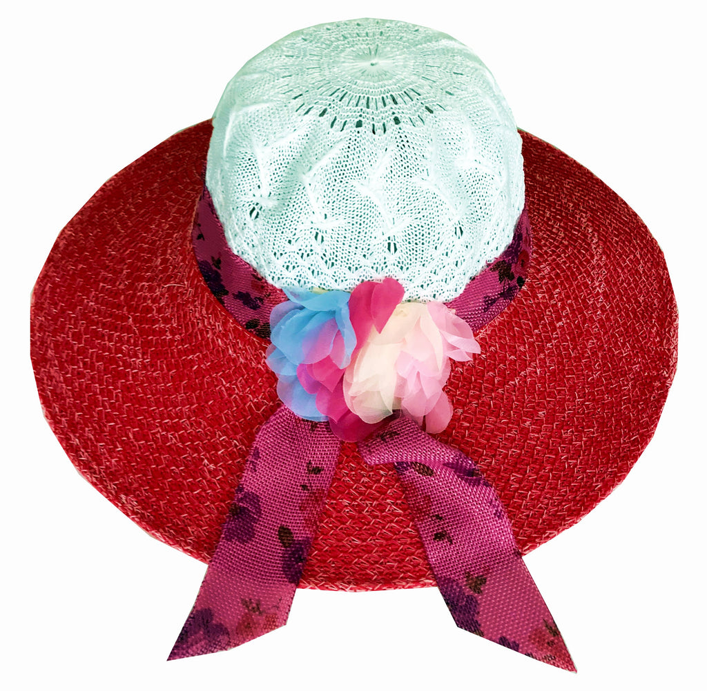 SYNC WITH STYLE Womens Ladies Floppy Foldable Summer Wedding Church Race Derby Sun Beach Straw Cap UPF 50 Foldable Wide Brim Formal Casual Adjustable Floral White & Red Hat