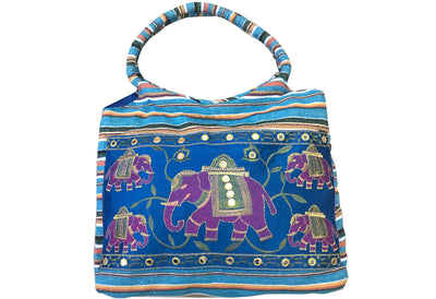 CLUB CUBANA Womens Ladies Ethnic Summer Fashion Handmade Embroidered Tote Shoulder HandBags Blue