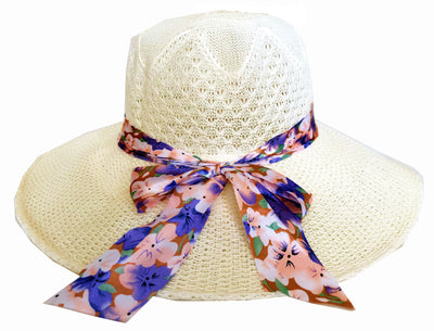 SYNC WITH STYLE Womens Ladies Floppy Foldable Summer Wedding Church Race Derby Sun Beach Straw Cap UPF 50 Foldable Wide Brim Formal Casual Adjustable Floral Off-White Hat