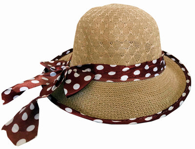 SYNC WITH STYLE Womens Ladies Floppy Foldable Summer Wedding Church Race Derby Sun Beach Straw Cap UPF 50 Foldable Wide Brim Formal Casual Adjustable Floral Hat Dark Beige