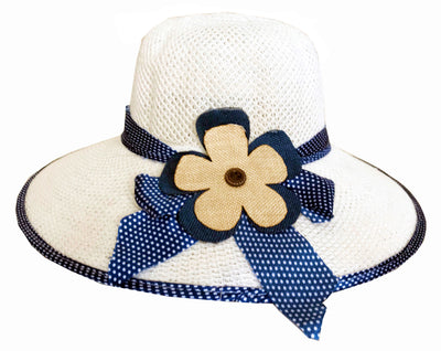 SYNC WITH STYLE Womens Ladies Floppy Foldable Summer Wedding Church Race Derby Sun Beach Straw Cap UPF 50 Foldable Wide Brim Formal Casual Adjustable Floral White & Blue Hat