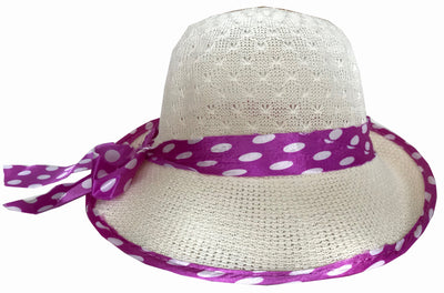 SYNC WITH STYLE Womens Ladies Floppy Foldable Summer Wedding Church Race Derby Sun Beach Straw Cap UPF 50 Foldable Wide Brim Formal Casual Adjustable Floral Hat White & Purple