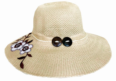 SYNC WITH STYLE Womens Ladies Floppy Foldable Summer Wedding Church Race Derby Sun Beach Straw Cap UPF 50 Foldable Wide Brim Formal Casual Adjustable Floral Beige Hat