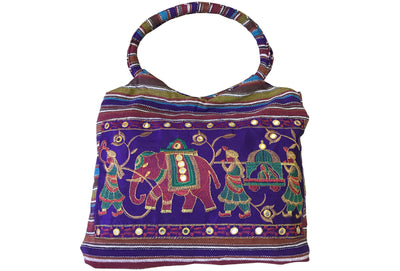 CLUB CUBANA Womens Ladies Ethnic Summer Fashion Handmade Embroidered Tote Shoulder HandBags Purple