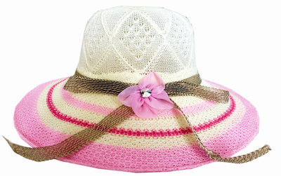 SYNC WITH STYLE Womens Ladies Floppy Foldable Summer Wedding Church Race Derby Sun Beach Straw Cap UPF 50 Foldable Wide Brim Formal Casual Adjustable Floral White & Light Pink Hat