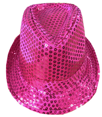 CLUB CUBANA Hawaiian Fedora Hats for Men Women Unisex Trilby Hat Panama Style Sequin Style Costume Party Cap Pink
