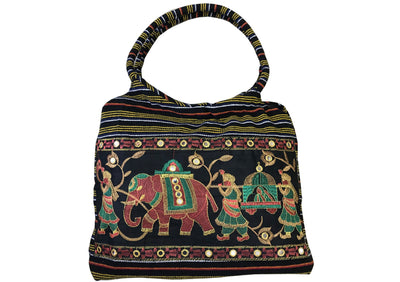 CLUB CUBANA Womens Ladies Ethnic Summer Fashion Handmade Embroidered Tote Shoulder HandBags Black And Yellow