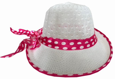 SYNC WITH STYLE Womens Ladies Floppy Foldable Summer Wedding Church Race Derby Sun Beach Straw Cap UPF 50 Foldable Wide Brim Formal Casual Adjustable Floral Hat White & Pink