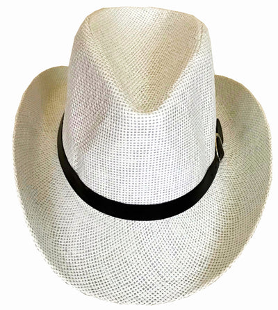 SYNC WITH STYLE Men Women Unisex Western Straw Cowboy Hat Beach Cap Wide Brim Church Cap Fedora Trilby Sun Hat Gambler Hat With Leather Detail White