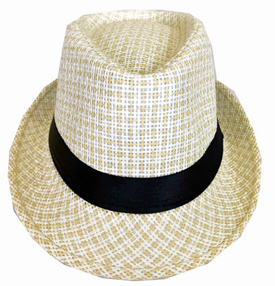 CLUB CUBANA Hawaiian Fedora Hats for Men Women Unisex Trilby Hat Panama Style Summer Beach Sun Jazz Luau Costume Party Cap White