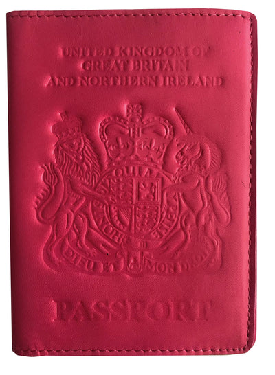 VALERIO Designer Men's Women's British United Kingdom Embossed RFID Blocking Genuine Leather Passport Cover & Boarding Pass Holder Pink