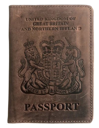 VALERIO Designer Men's Women's British United Kingdom Embossed RFID Blocking Genuine Leather Passport Cover & Boarding Pass Holder Brown