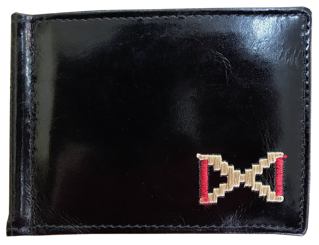 CARLOS DIAZ Designer Mens Womens Unisex Black Soft Leather Embroidered Card Holder With Money Clip