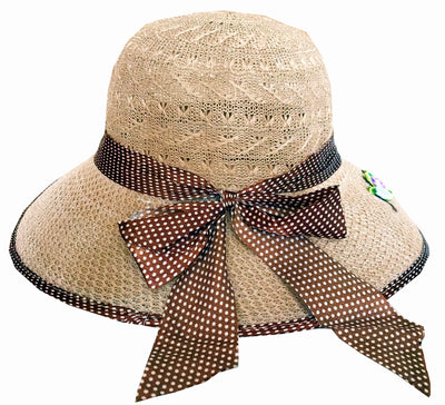 SYNC WITH STYLE Womens Ladies Floppy Foldable Summer Wedding Church Race Derby Sun Beach Straw Cap UPF 50 Foldable Wide Brim Formal Casual Adjustable Hat Brown