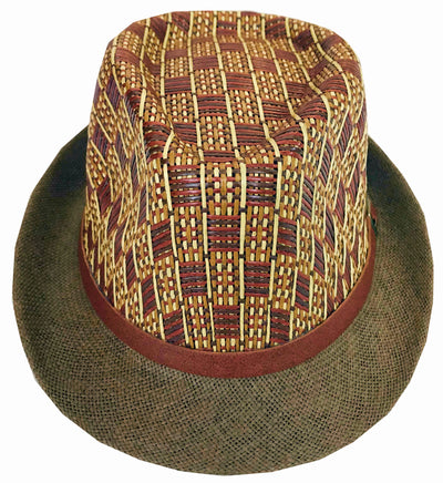 CLUB CUBANA Hawaiian Fedora Hats for Men Women Unisex Trilby Hat Panama Style Summer Beach Sun Jazz Luau Costume Party Cap  Brown & Light Brown