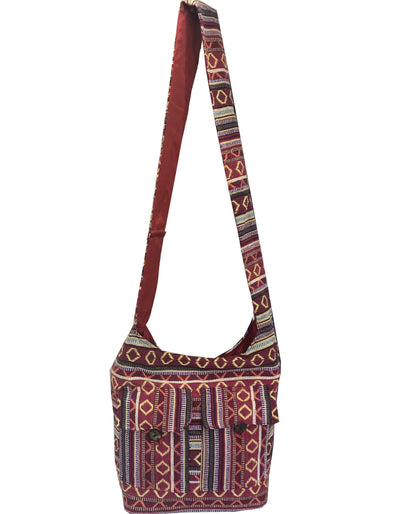 CLUB CUBANA Womens Ladies Ethnic Summer School Shopping Fashion Handmade Tote Long Shoulder Bag Red