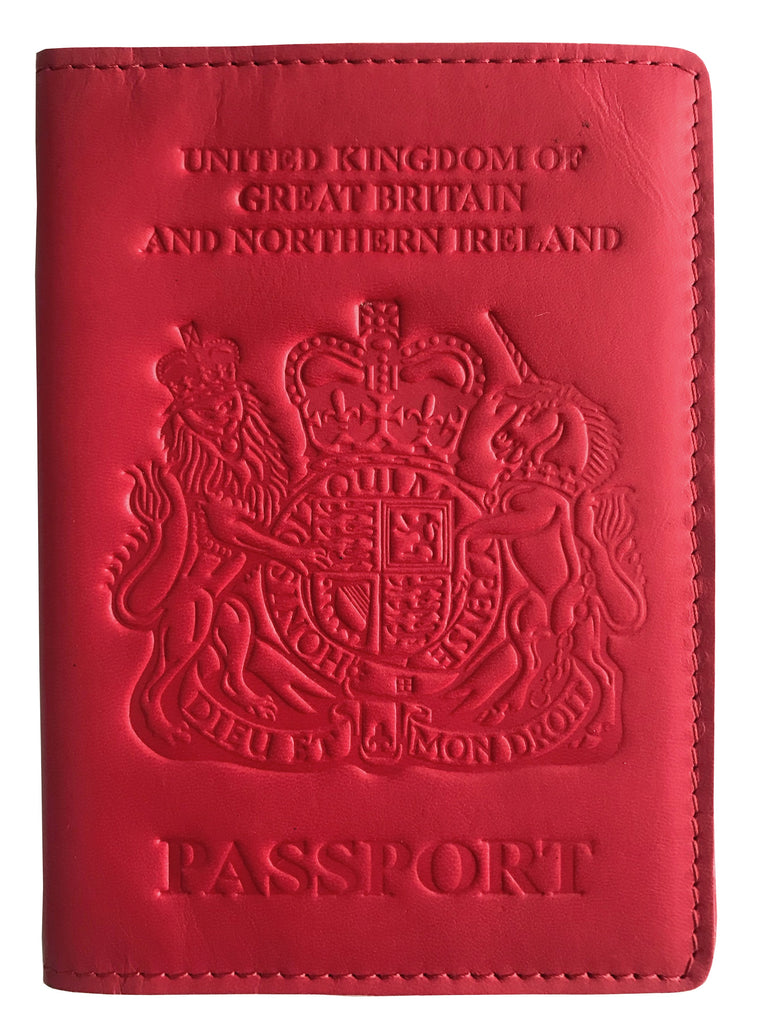 8bb9b3a1a74d VALERIO Designer Men s Women s British United Kingdom Embossed RFID  Blocking Genuine Leather Passport Cover   Boarding