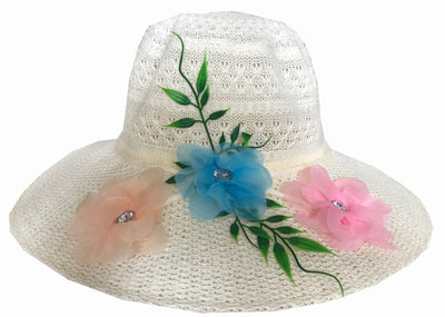 SYNC WITH STYLE Womens Ladies Floppy Foldable Summer Wedding Church Race Derby Sun Beach Straw Cap UPF 50 Foldable Wide Brim Formal Casual Adjustable Floral White Hat