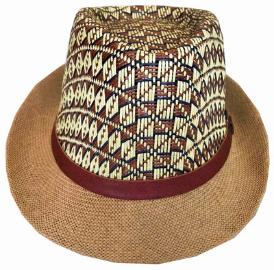 CLUB CUBANA Hawaiian Fedora Hats for Men Women Unisex Trilby Hat Panama Style Summer Beach Sun Jazz Luau Costume Party Cap Brown