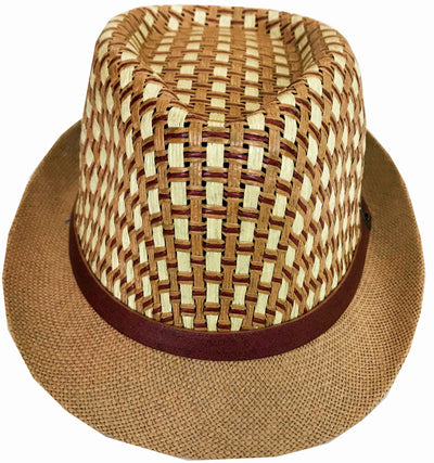CLUB CUBANA Hawaiian Fedora Hats for Men Women Unisex Trilby Hat Panama Style Summer Beach Sun Jazz Luau Costume Party Cap  Brown & White