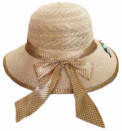 SYNC WITH STYLE Womens Ladies Floppy Foldable Summer Wedding Church Race Derby Sun Beach Straw Cap UPF 50 Foldable Wide Brim Formal Casual Adjustable Hat Light Brown & Gold
