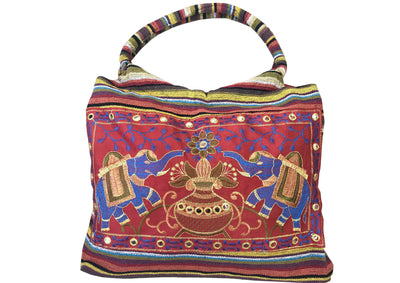 CLUB CUBANA Womens Ladies Ethnic Summer Fashion Handmade Embroidered Tote Shoulder HandBags Red