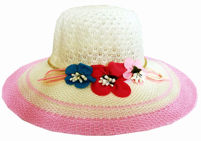 SYNC WITH STYLE Womens Ladies Floppy Foldable Summer Wedding Church Race Derby Sun Beach Straw Cap UPF 50 Foldable Wide Brim Formal Casual Adjustable Floral Off White & Light Pink Hat