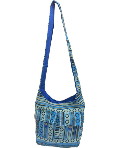 CLUB CUBANA Womens Ladies Ethnic Summer School Shopping Fashion Handmade Tote Long Shoulder Bag Blue