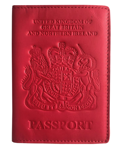 VALERIO Designer Men's Women's British United Kingdom Embossed RFID Blocking Genuine Leather Passport Cover & Boarding Pass Holder Red