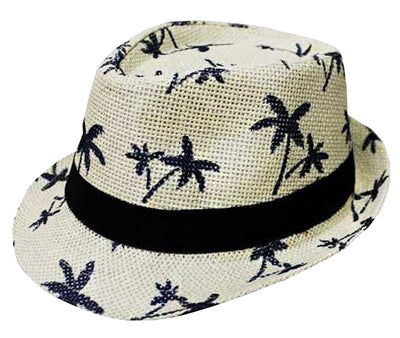 CLUB CUBANA Fedora Hats For Men Women Unisex Trilby Hat Panama Style Summer Beach Sun Jazz Cap Off-White