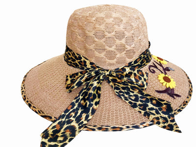 SYNC WITH STYLE Womens Ladies Floppy Foldable Summer Wedding Church Race Derby Sun Beach Straw Cap UPF 50 Foldable Wide Brim Formal Casual Adjustable Floral Brown & Black Hat