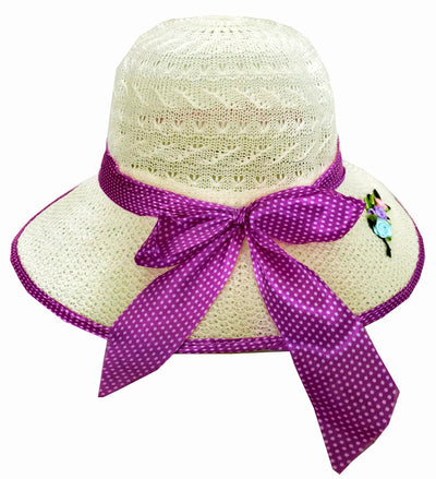 SYNC WITH STYLE Womens Ladies Floppy Foldable Summer Wedding Church Race Derby Sun Beach Straw Cap UPF 50 Foldable Wide Brim Formal Casual Adjustable Hat Off White & Purple