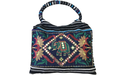 CLUB CUBANA Womens Ladies Ethnic Summer Fashion Handmade Embroidered Tote Shoulder HandBags Blue And Black