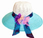 SYNC WITH STYLE Womens Ladies Floppy Foldable Summer Wedding Church Race Derby Sun Beach Straw Cap UPF 50 Foldable Wide Brim Formal Casual Adjustable Floral White & Light Blue Hat