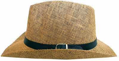 SYNC WITH STYLE Men Women Unisex Western Straw Cowboy Hat Beach Cap Wide Brim Church Cap Fedora Trilby Sun Hat Gambler Hat With Leather Detail Light Brown