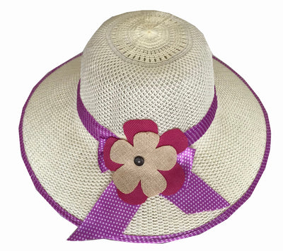 SYNC WITH STYLE Womens Ladies Floppy Foldable Summer Wedding Church Race Derby Sun Beach Straw Cap UPF 50 Foldable Wide Brim Formal Casual Adjustable Floral Off White & Pink Hat
