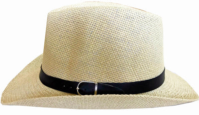 SYNC WITH STYLE Men Women Unisex Western Straw Cowboy Hat Beach Cap Wide Brim Church Cap Fedora Trilby Sun Hat Gambler Hat With Leather Detail Off White