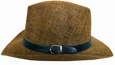 SYNC WITH STYLE Men Women Unisex Western Straw Cowboy Hat Beach Cap Wide Brim Church Cap Fedora Trilby Sun Hat Gambler Hat With Leather Detail Brown