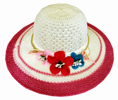 SYNC WITH STYLE Womens Ladies Floppy Foldable Summer Wedding Church Race Derby Sun Beach Straw Cap UPF 50 Foldable Wide Brim Formal Casual Adjustable Floral Off White & Red Hat