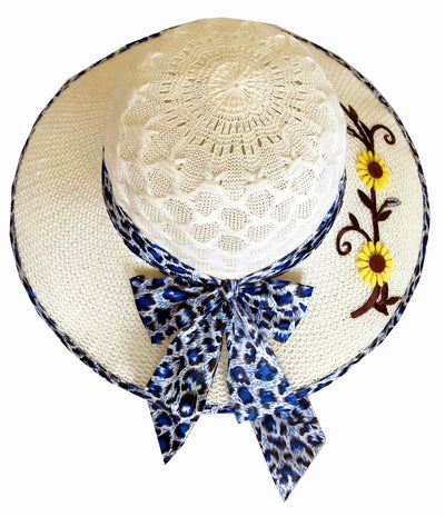 SYNC WITH STYLE Womens Ladies Floppy Foldable Summer Wedding Church Race Derby Sun Beach Straw Cap UPF 50 Foldable Wide Brim Formal Casual Adjustable Floral Off-White & Blue Hat