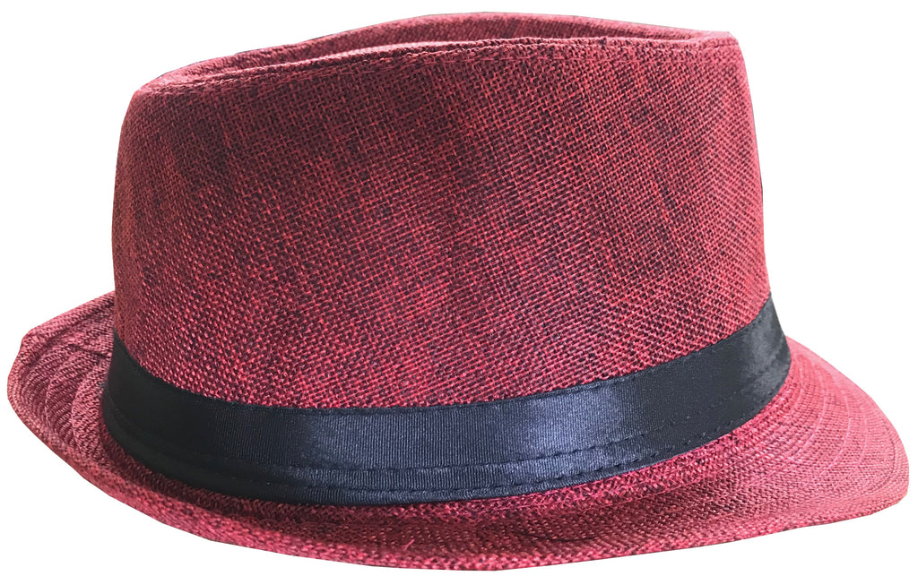 CLUB CUBANA Fedora Hats for Men Women Unisex Trilby Hat Panama Style Summer Beach Sun Jazz Cap Red