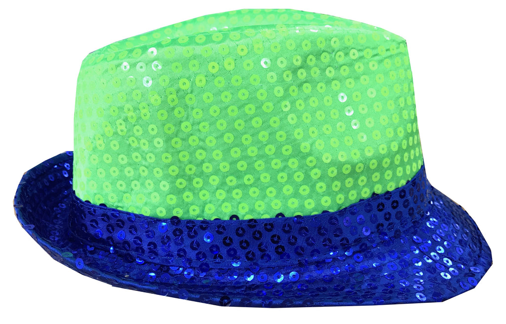 CLUB CUBANA Hawaiian Fedora Hats for Men Women Unisex Trilby Hat Panama Style Sequin Style Costume Party Cap Blue