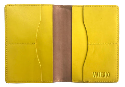VALERIO Designer Men's Women's British United Kingdom Embossed RFID Blocking Genuine Leather Passport Cover & Boarding Pass Holder Yellow