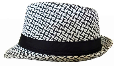 CLUB CUBANA Hawaiian Fedora Hats for Men Women Unisex Trilby Hat Panama Style Summer Beach Sun Jazz Luau Costume Party Cap White & Black
