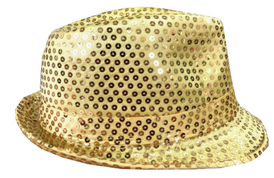 CLUB CUBANA Hawaiian Fedora Hats for Men Women Unisex Trilby Hat Panama Style Sequin Style Costume Party Cap Gold