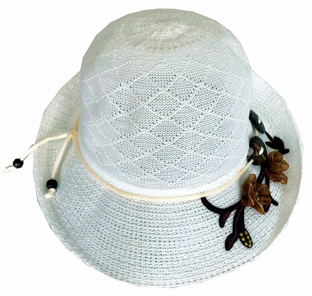 SYNC WITH STYLE Womens Ladies Floppy Foldable Summer Wedding Church Race Derby Sun Beach Straw Cap UPF 50 Foldable Wide Brim Formal Casual Adjustable Floral Hat White