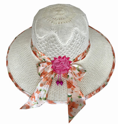 SYNC WITH STYLE Womens Ladies Floppy Foldable Summer Wedding Church Race Derby Sun Beach Straw Cap UPF 50 Foldable Wide Brim Formal Casual Adjustable Floral Off White Hat