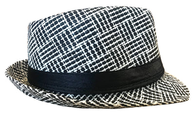 CLUB CUBANA Hawaiian Fedora Hats for Men Women Unisex Trilby Hat Panama Style Summer Beach Sun Jazz Luau Costume Party Cap Black & White